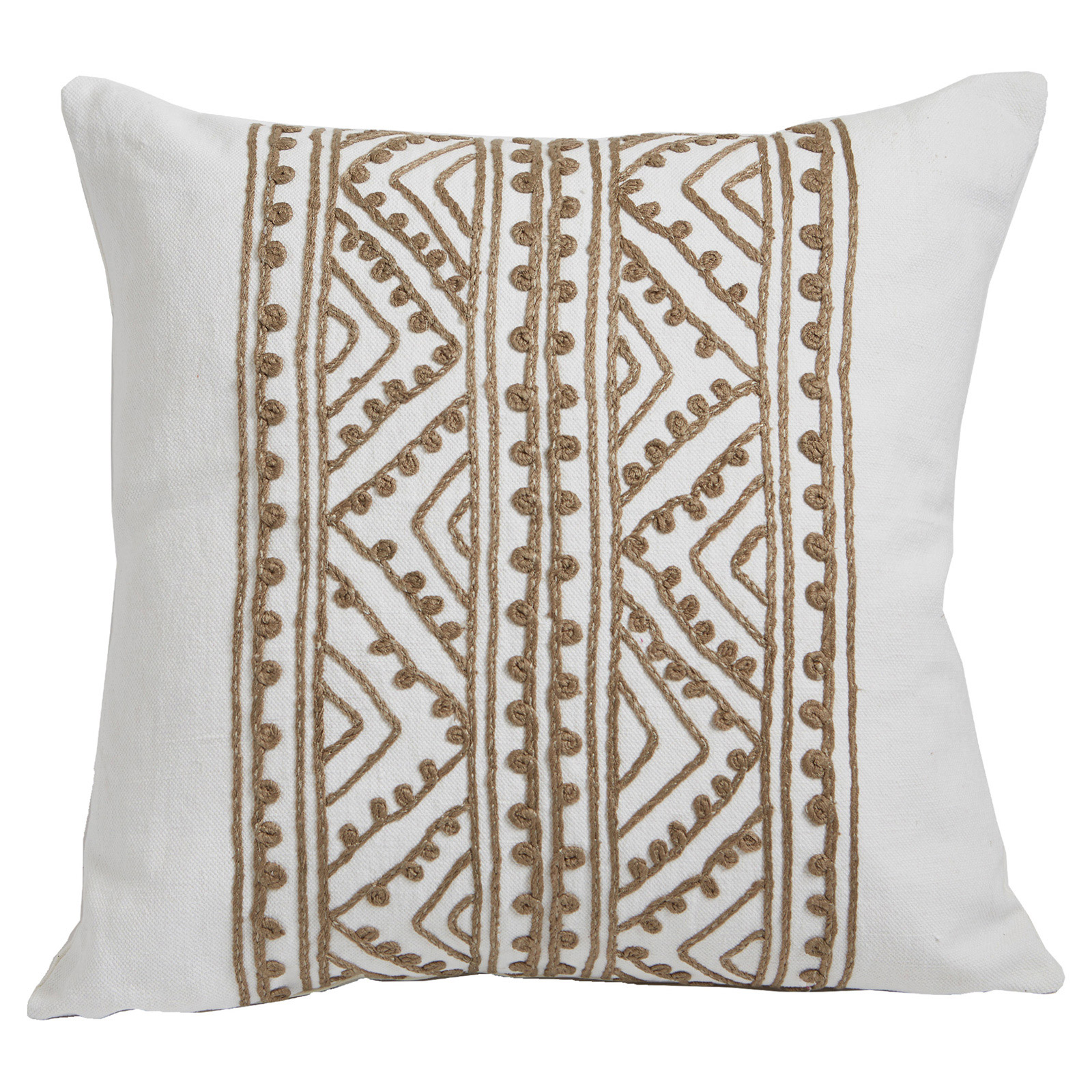 Bengali Global Silk Beige Embroidered Ivory Pillow - 20x20