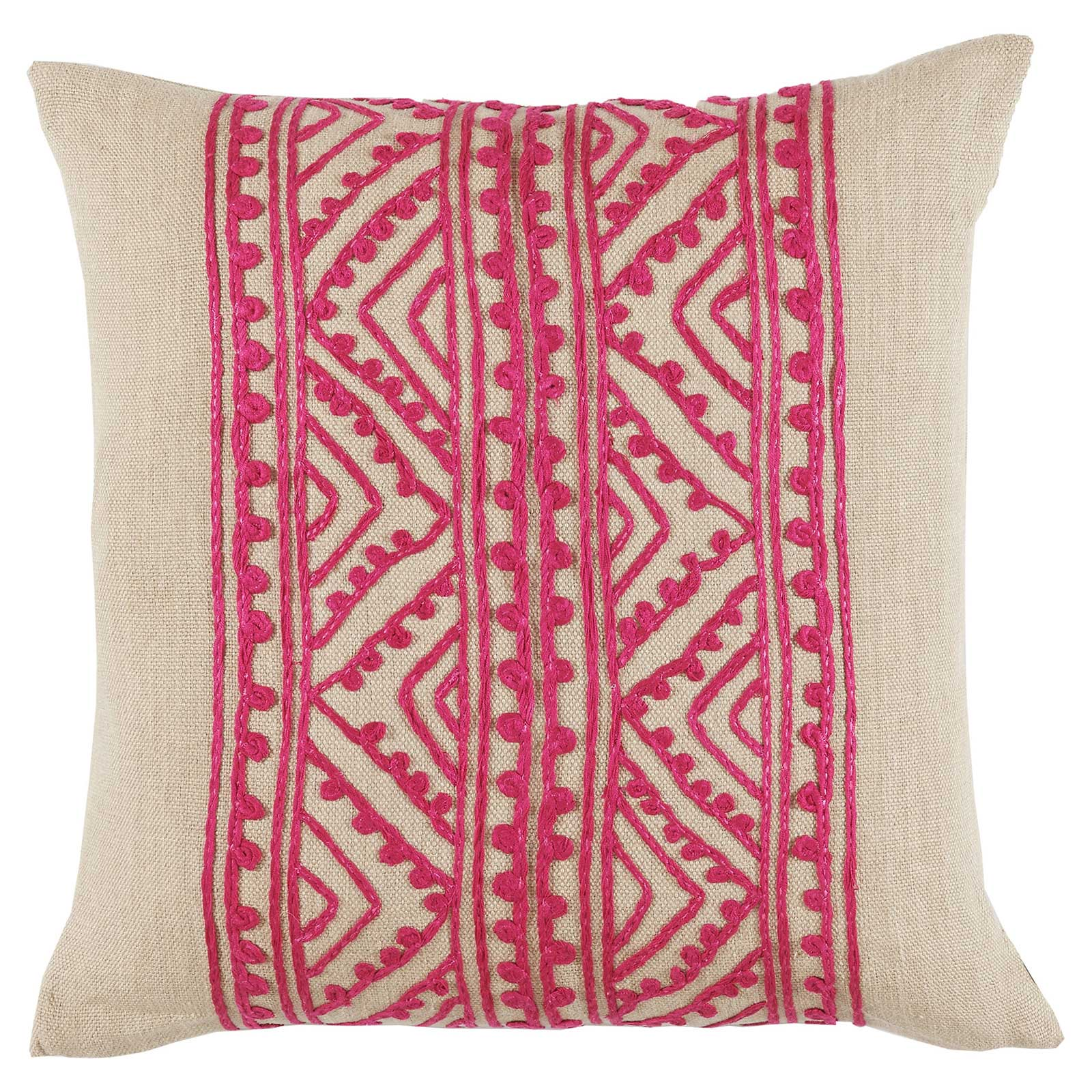 Bengali Global Silk Pink Embroidered Beige Pillow - 20x20