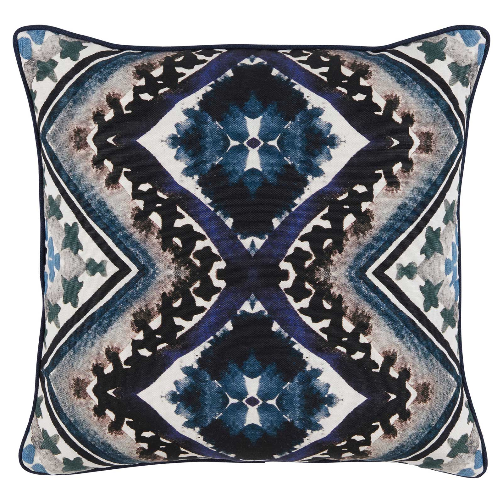 Ruba Global Modern Ink Indigo Diamond Pillow - 20x20