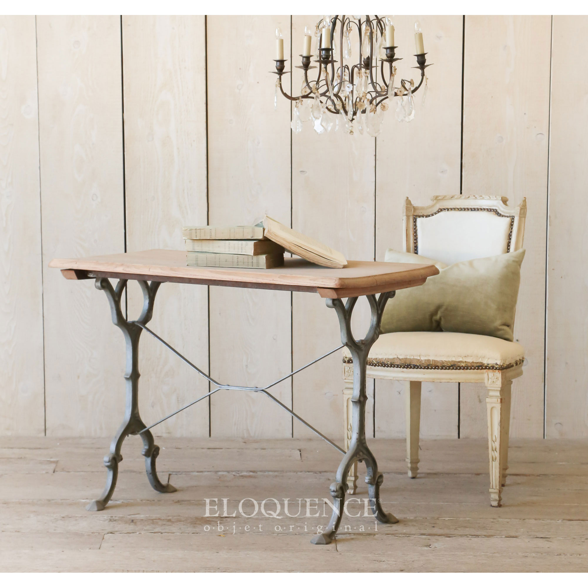 Eloquence® Vintage French Country Light Honey Wood Iron Table