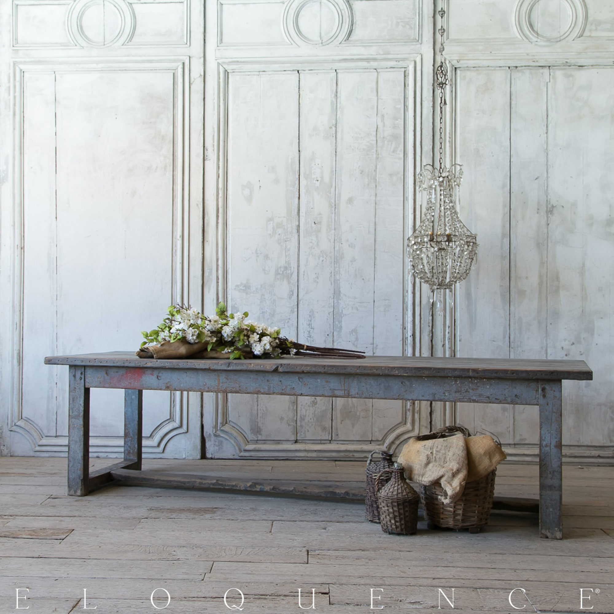Eloquence® French Country Blue Grey Oak Antique Farm Table 1920