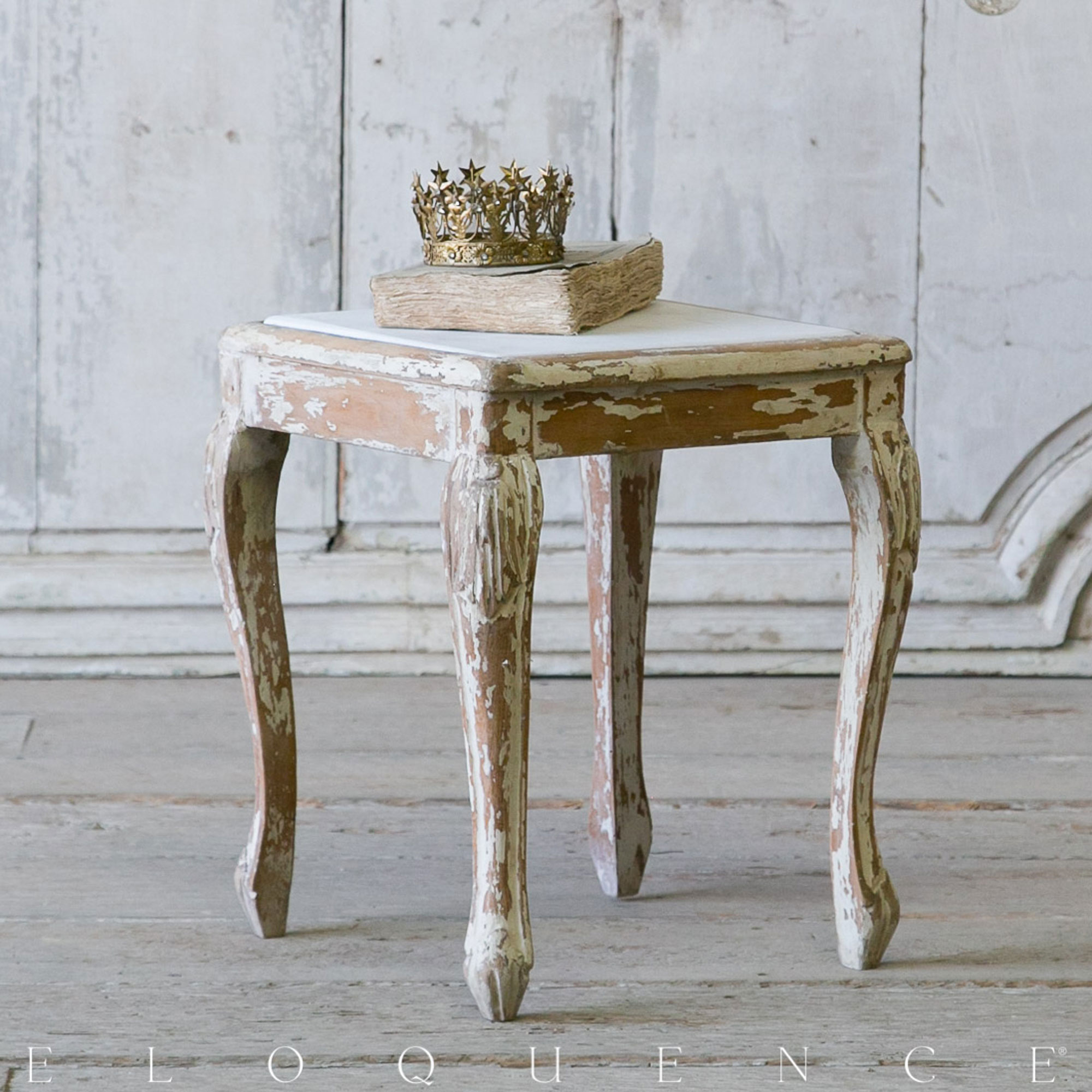 Eloquence® Vintage French Distress White Louis XV Side Table