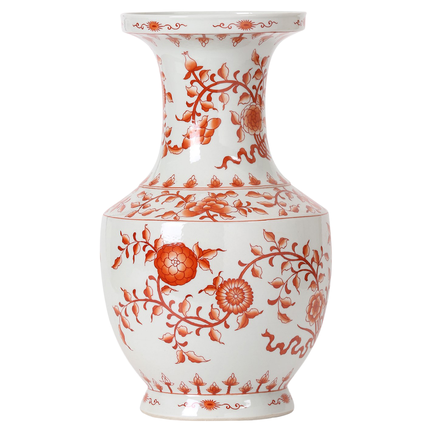 Empress Global Orange Floral Ribbon Wide Neck Hand Painted Vase