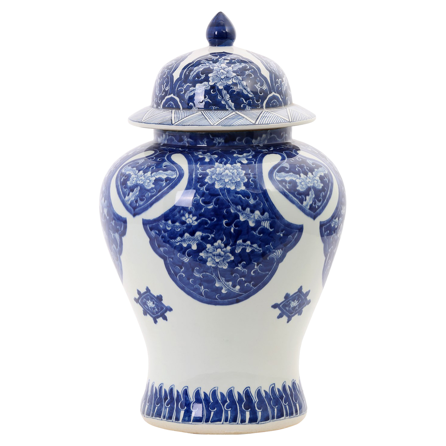 Genghis Global Blue Foliage Hand Painted Porcelain Temple Jar