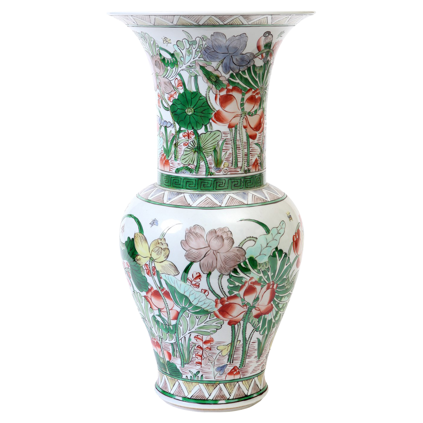 Ren Global Bazaar Lily Pond Tall Wide Mouth Porcelain Vase