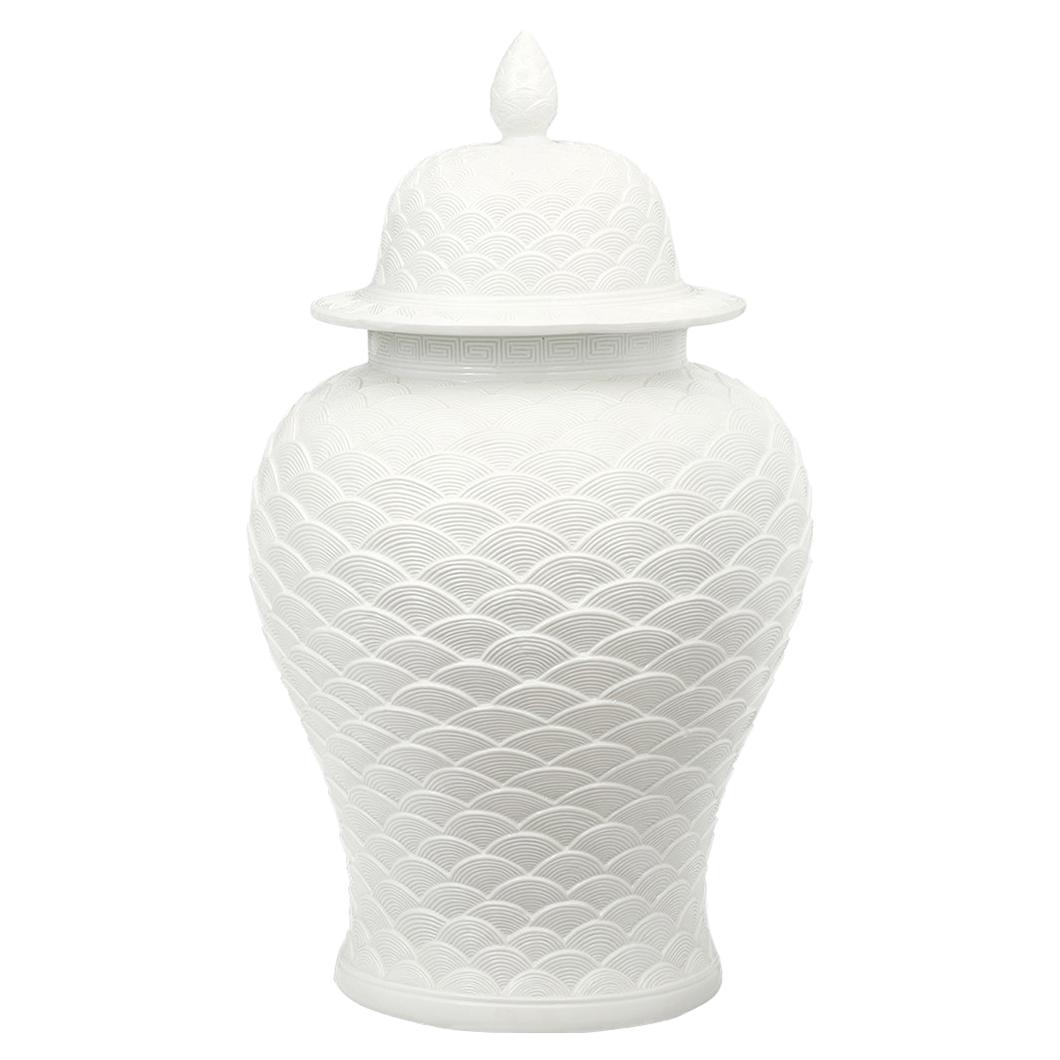 Yuki Global White Fish Scale Ocean Wave Porcelain Lidded Jar