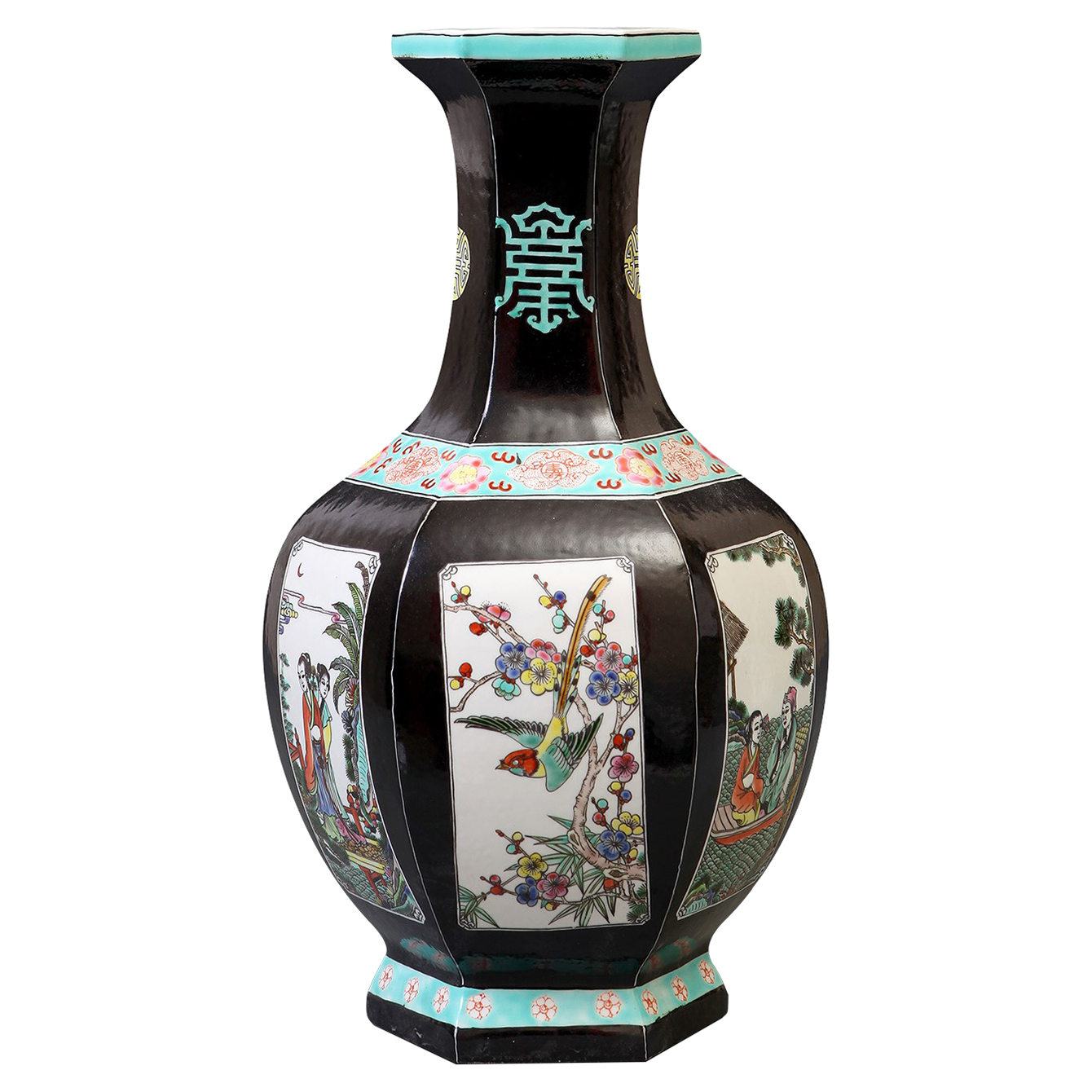 Jing Global Chinese Vignette Black Hexagon Base Porcelain Vase