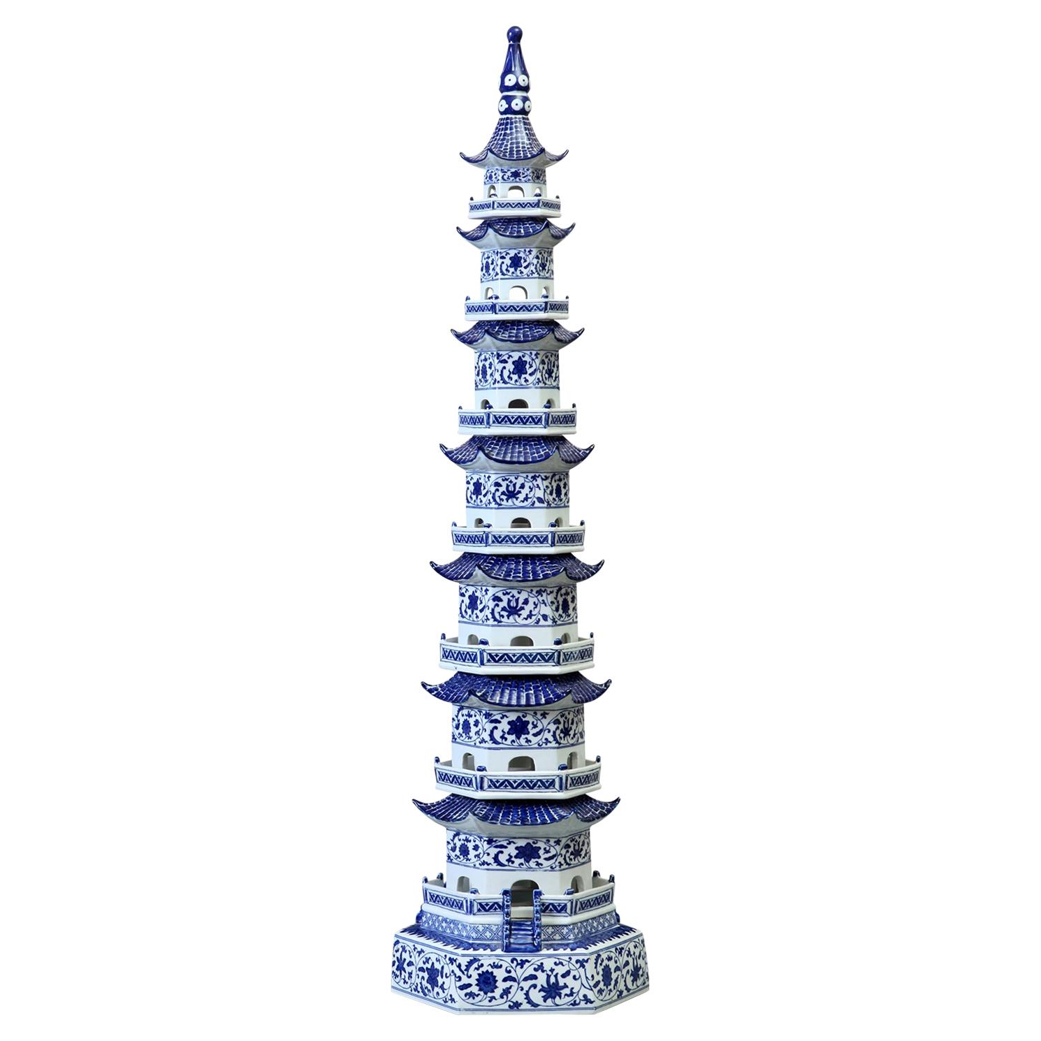 Zengan Global Bazaar Tall Blue White Pagoda Porcelain Statue