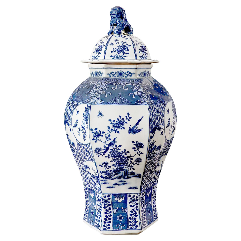 Ming Global Bazaar Blue Floral Hexagon Base Porcelain Temple Jar