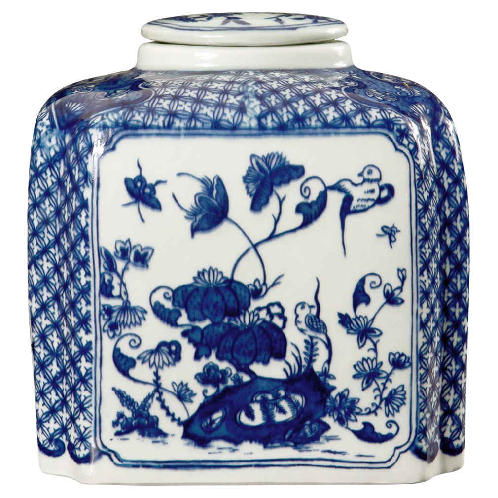 Oolong Global Bazaar Blue Tea Canister Hand Painted Porcelain Jar
