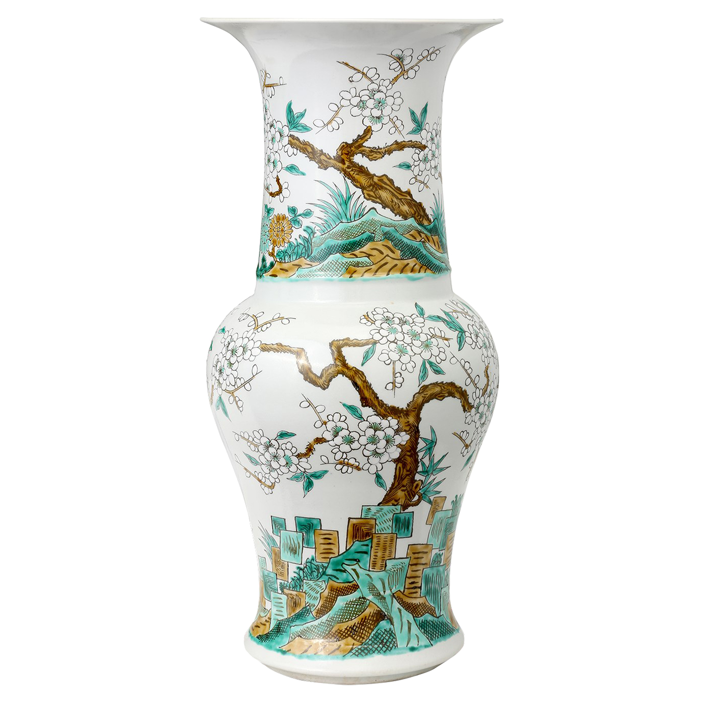 Oka Global Green Cherry Blossom Tall Wide Mouth Porcelain Vase