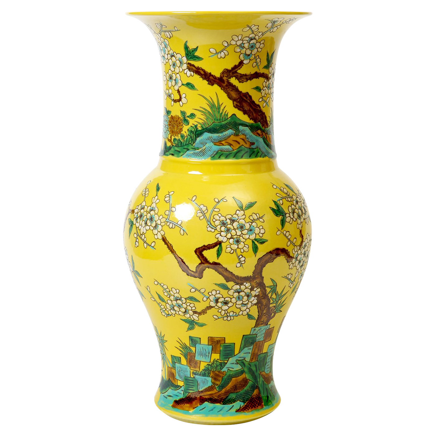 Oka Global Yellow Cherry Blossom Tall Wide Mouth Porcelain Vase