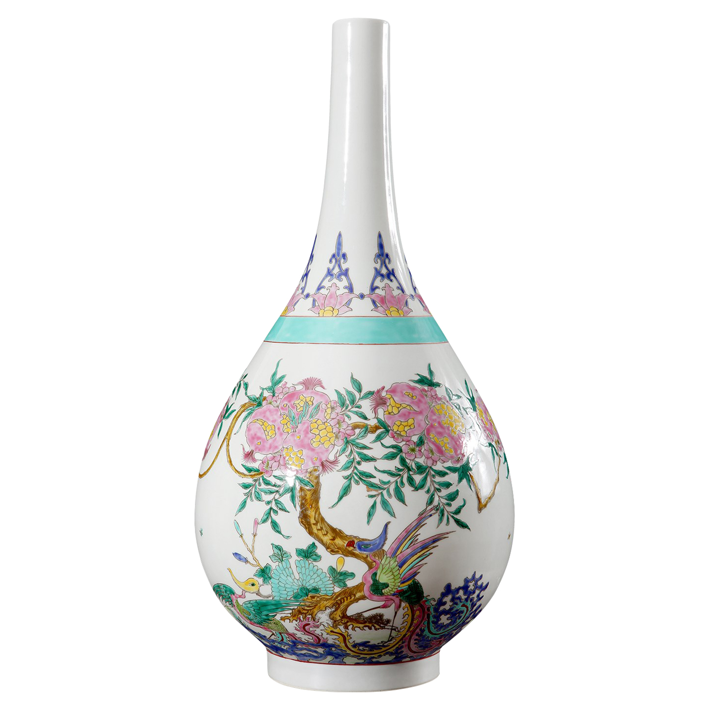 Fuu Global Bazaar Pink Pomegranate Tear Drop Porcelain Vase