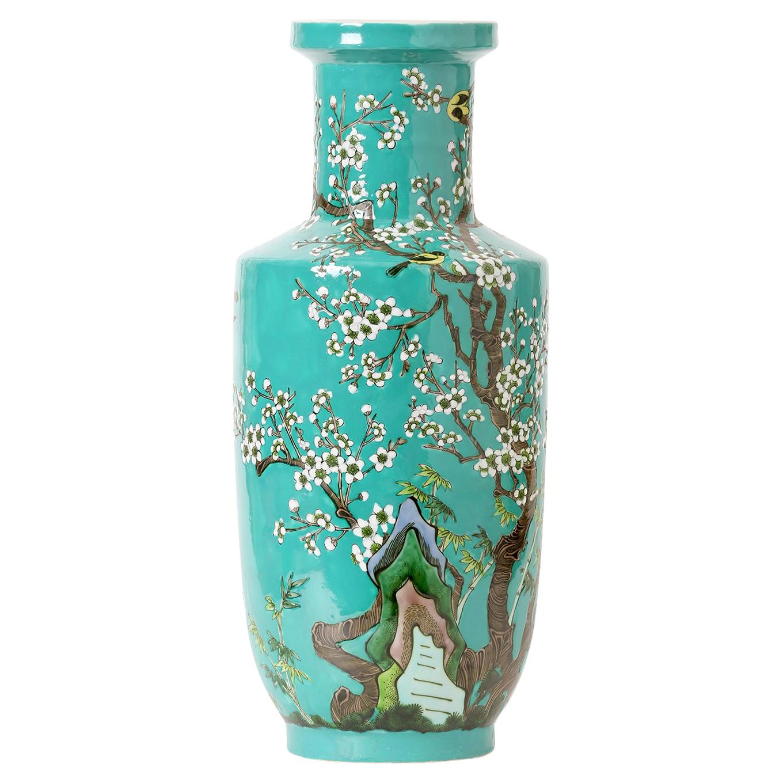 Rina Global Bazaar Turquoise Cherry Blossom Tall Porcelain Vase