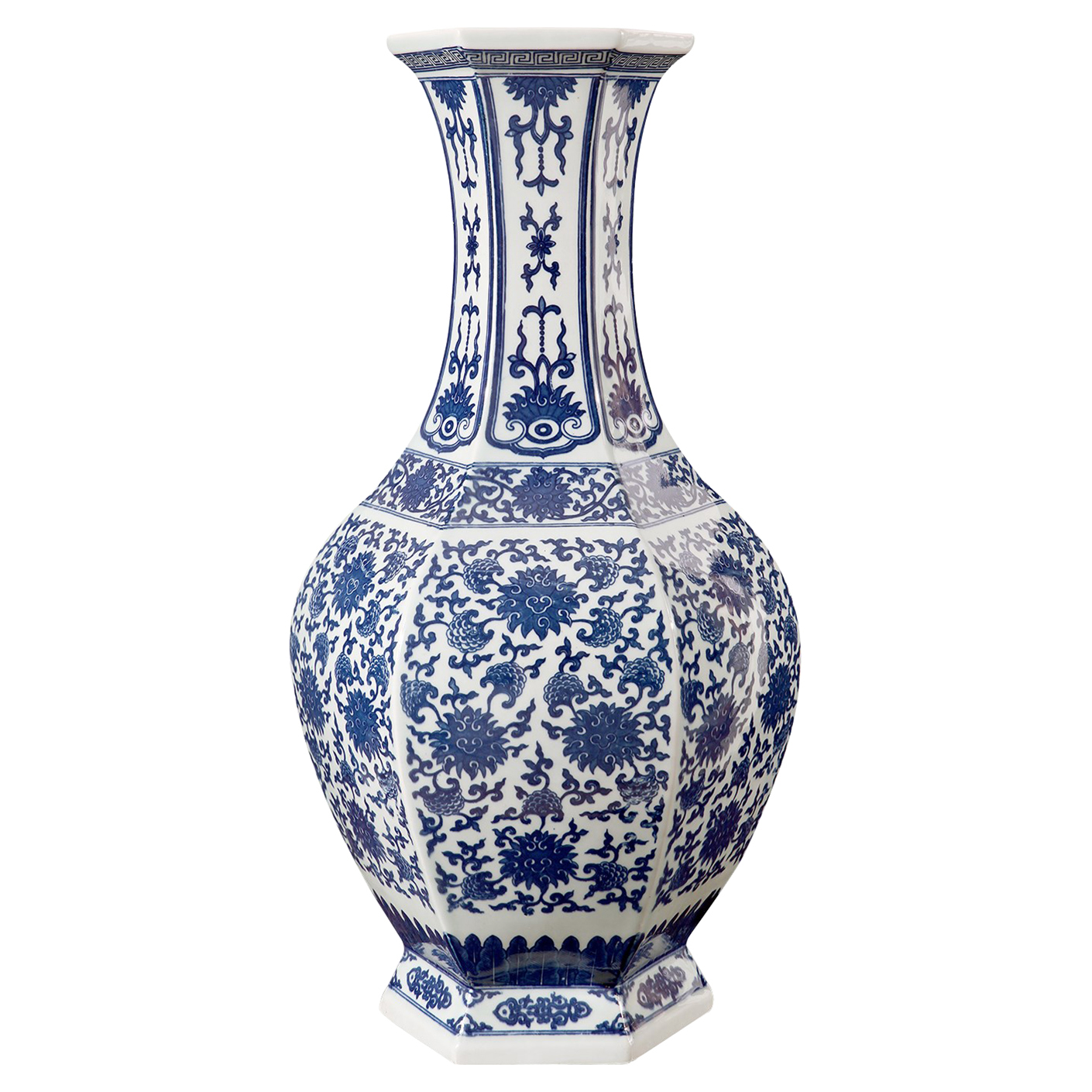 Su Global Blue Floral Tile Pattern Hexagon Base Porcelain Vase