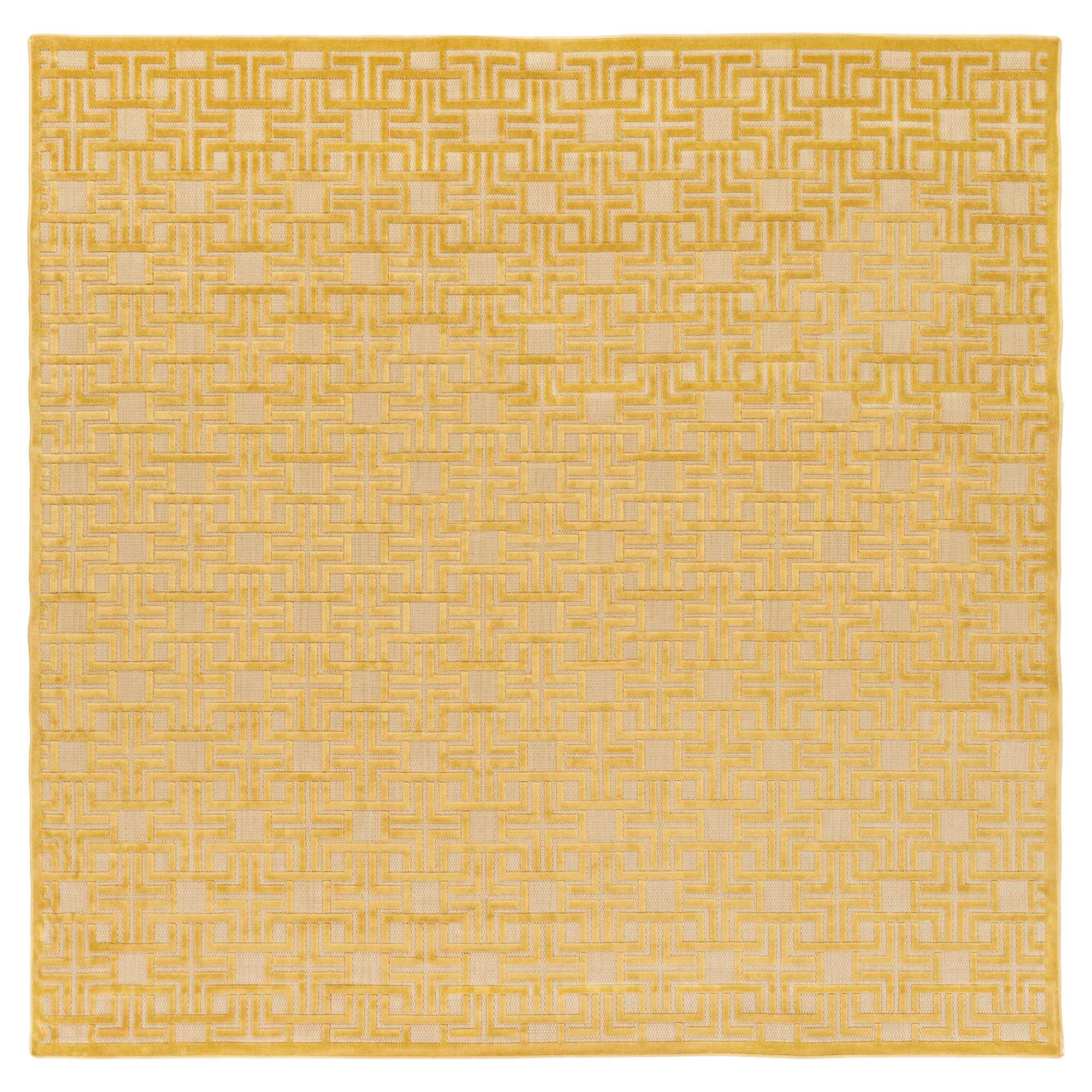 Freya Modern Golden Yellow Fretwork Outdoor Rug - Sample