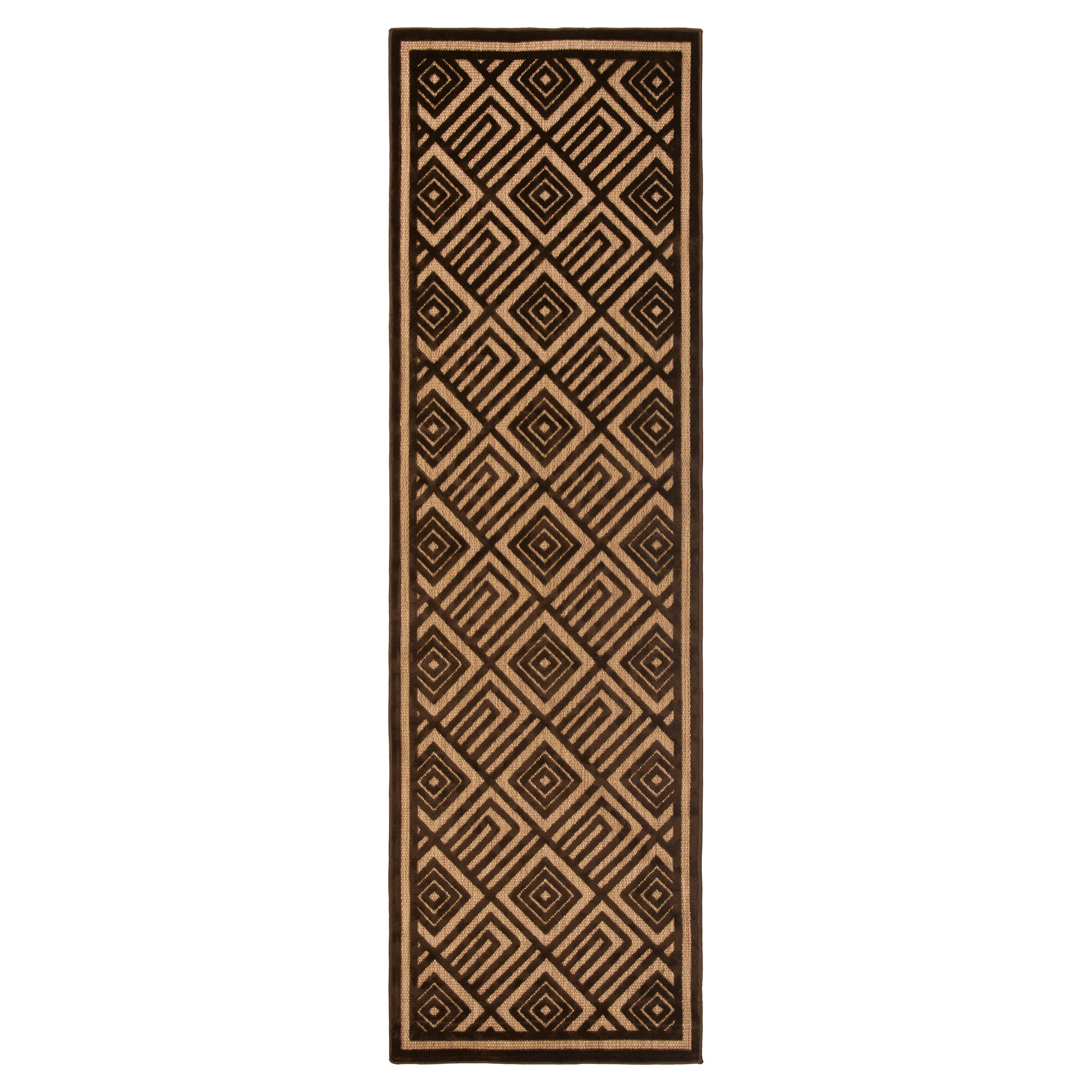 Anouk Global Dark Brown Geometric Outdoor Rug - 2'6 x 7'102'6x7'10
