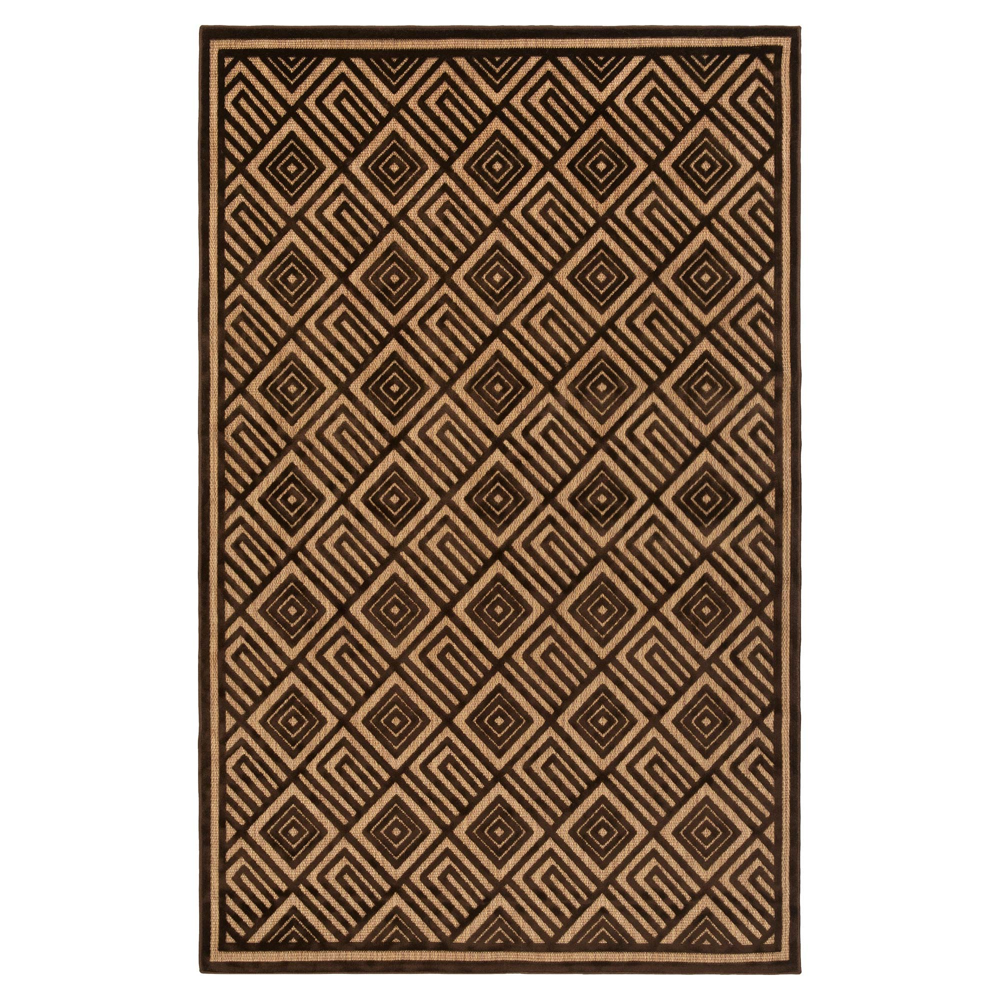 Anouk Global Dark Brown Geometric Outdoor Rug - 3'9x5'8