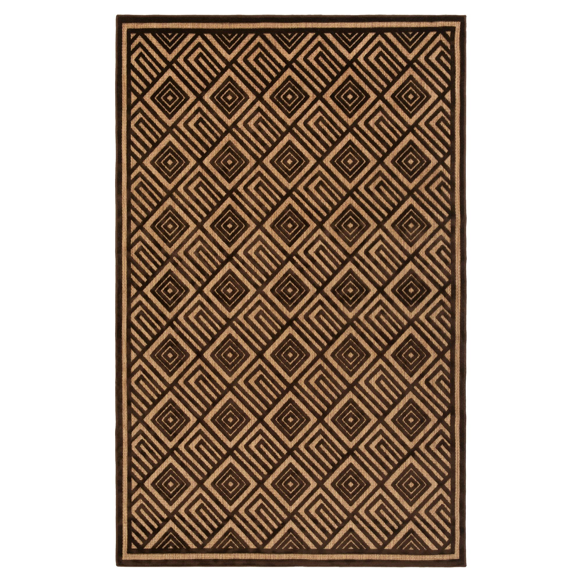 Anouk Global Dark Brown Geometric Outdoor Rug - 4'7x6'7