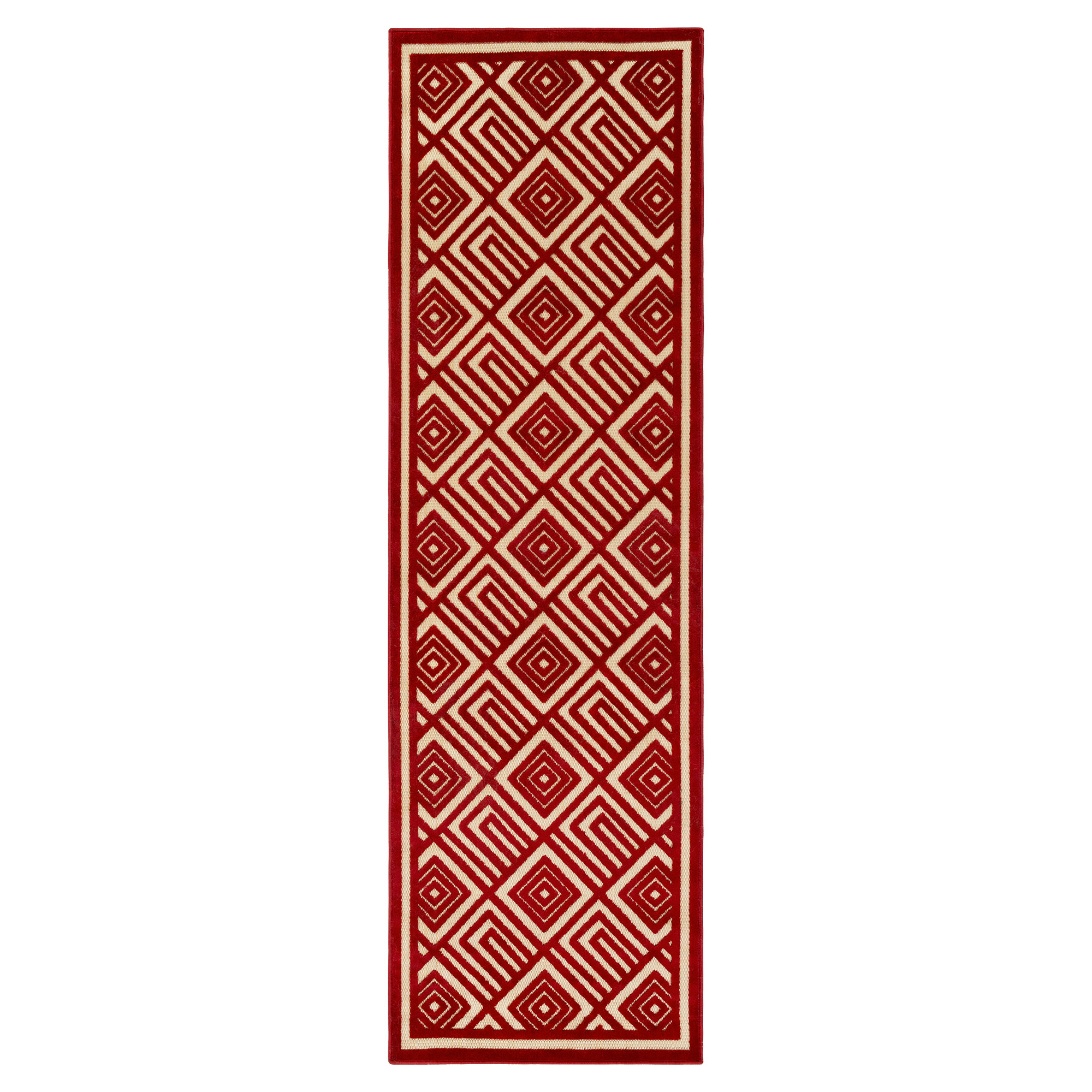 Anouk Global Dark Red Geometric Outdoor Rug - 2'6x7'10