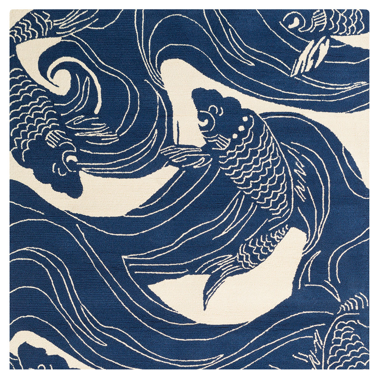Kana Global Coastal Blue Ocean Koi Outdoor Rug - Sample