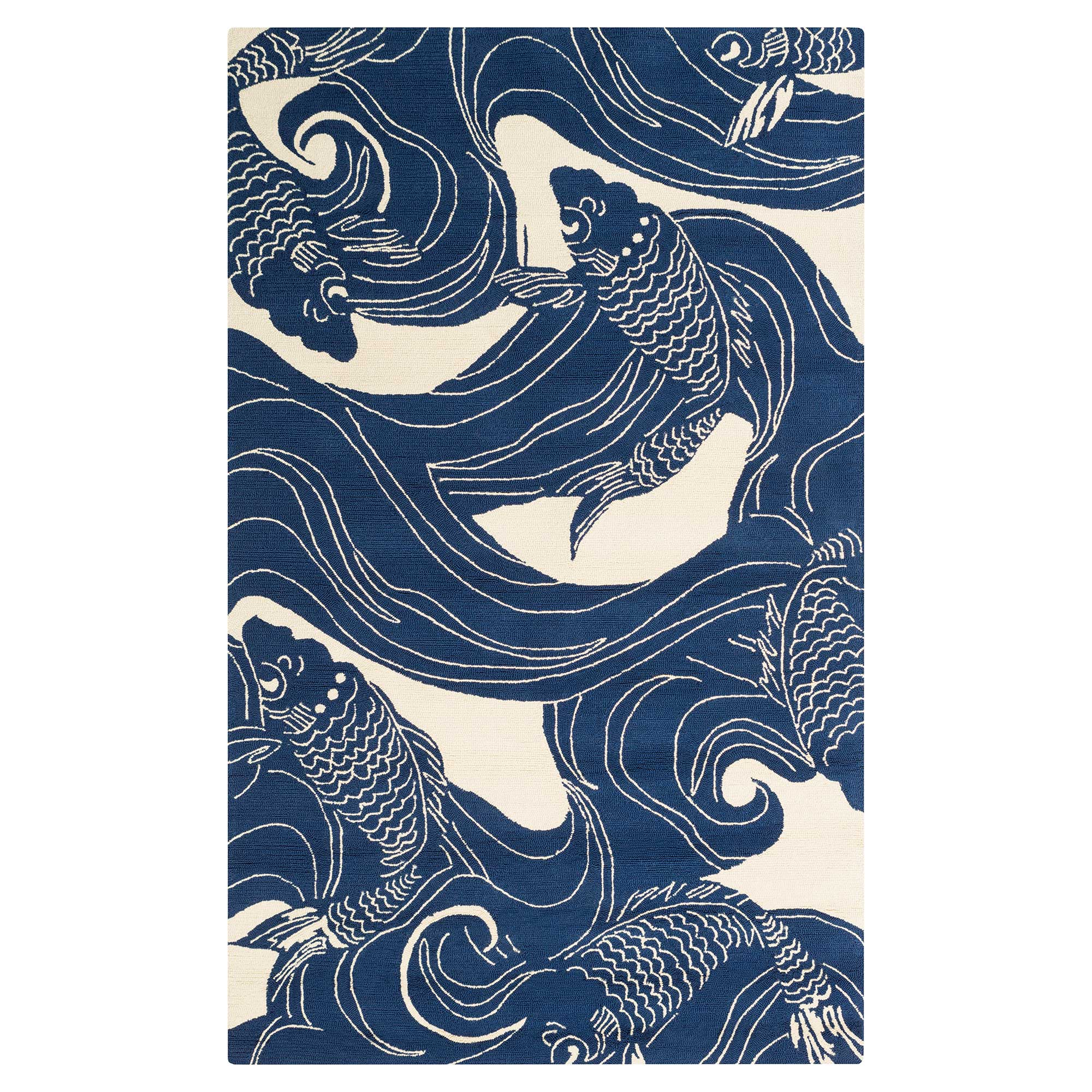 Kana Global Coastal Blue Ocean Koi Outdoor Rug - 2'x3'