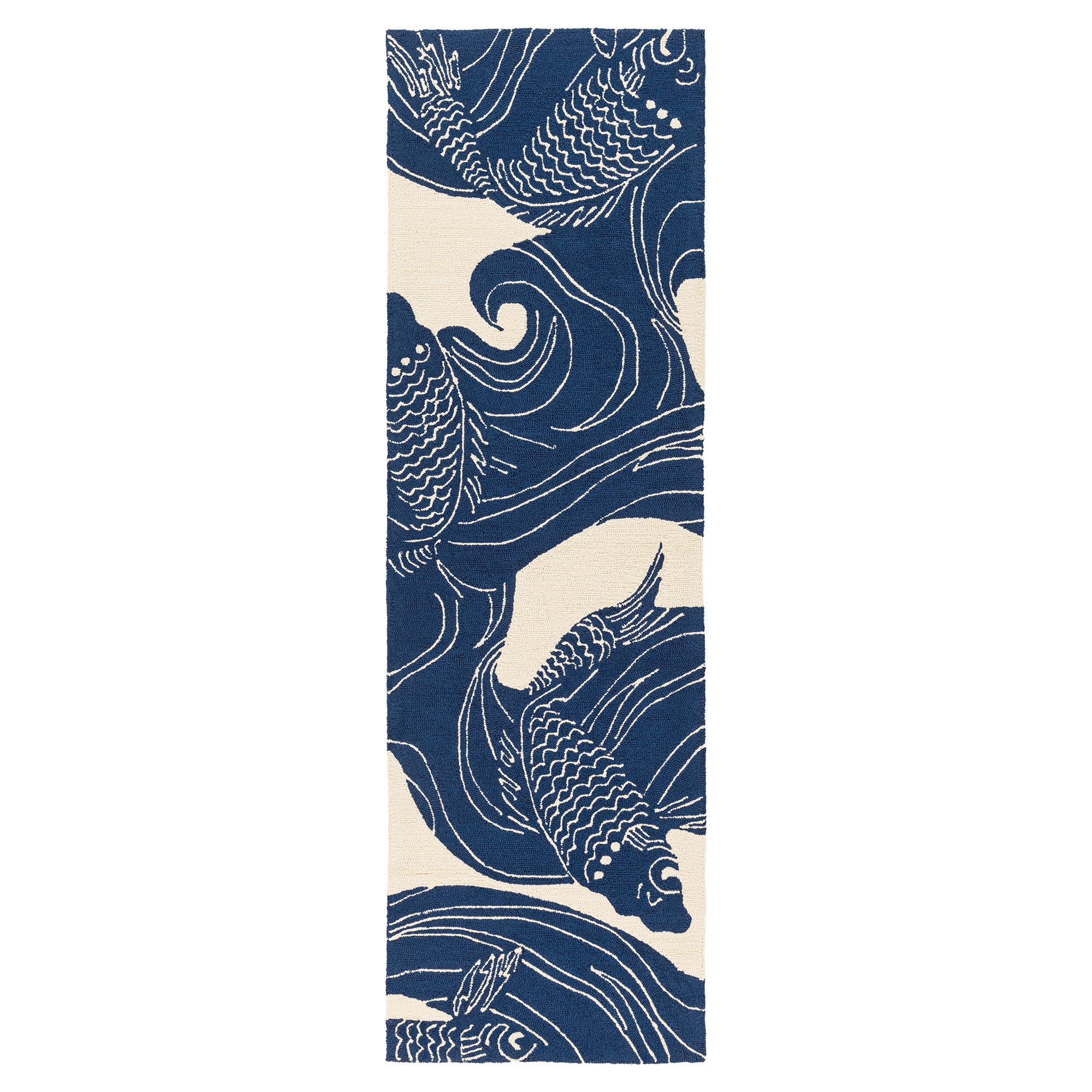 Kana Global Coastal Blue Ocean Koi Outdoor Rug - 2'6x8'