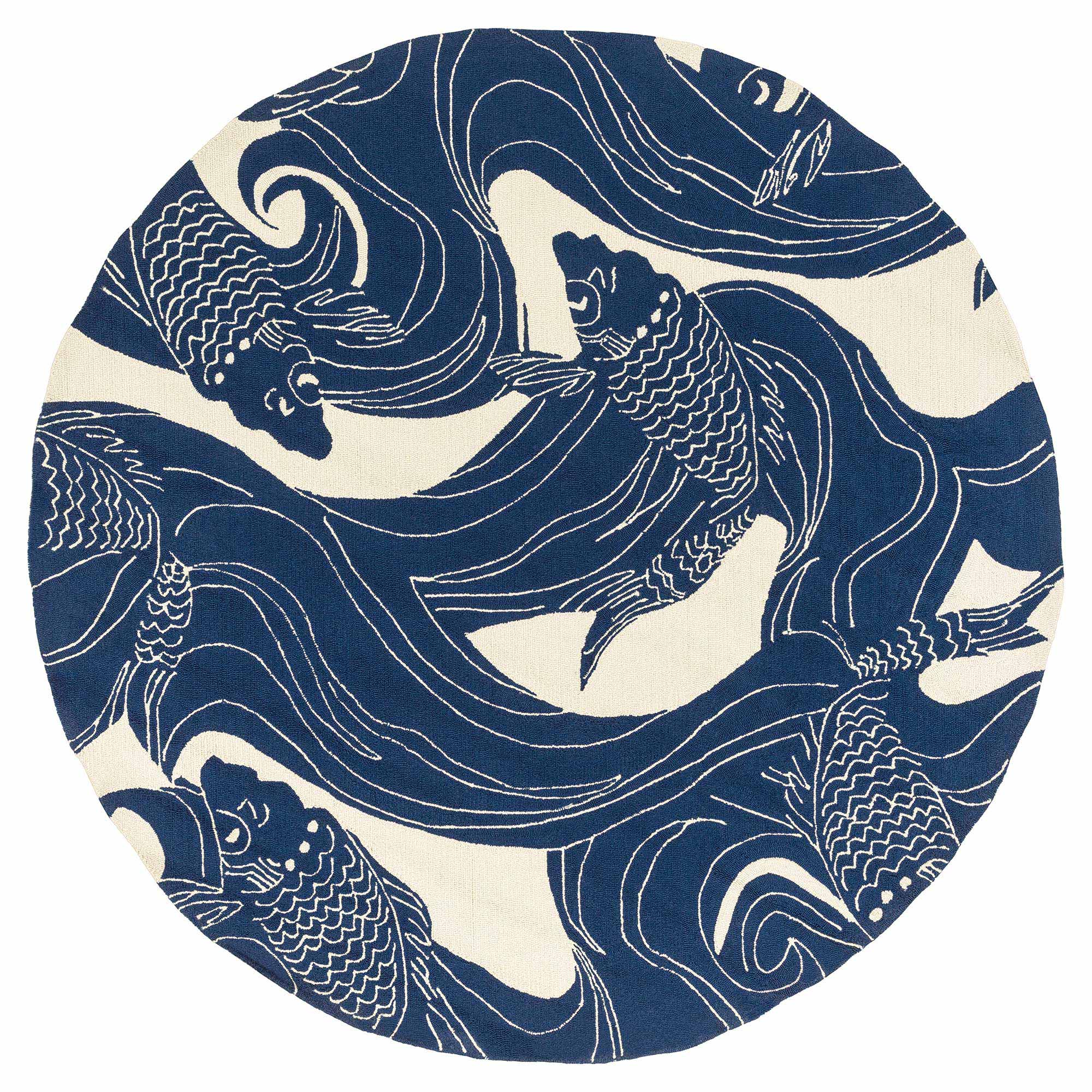 Kana Global Coastal Blue Ocean Koi Outdoor Rug - 8' Round