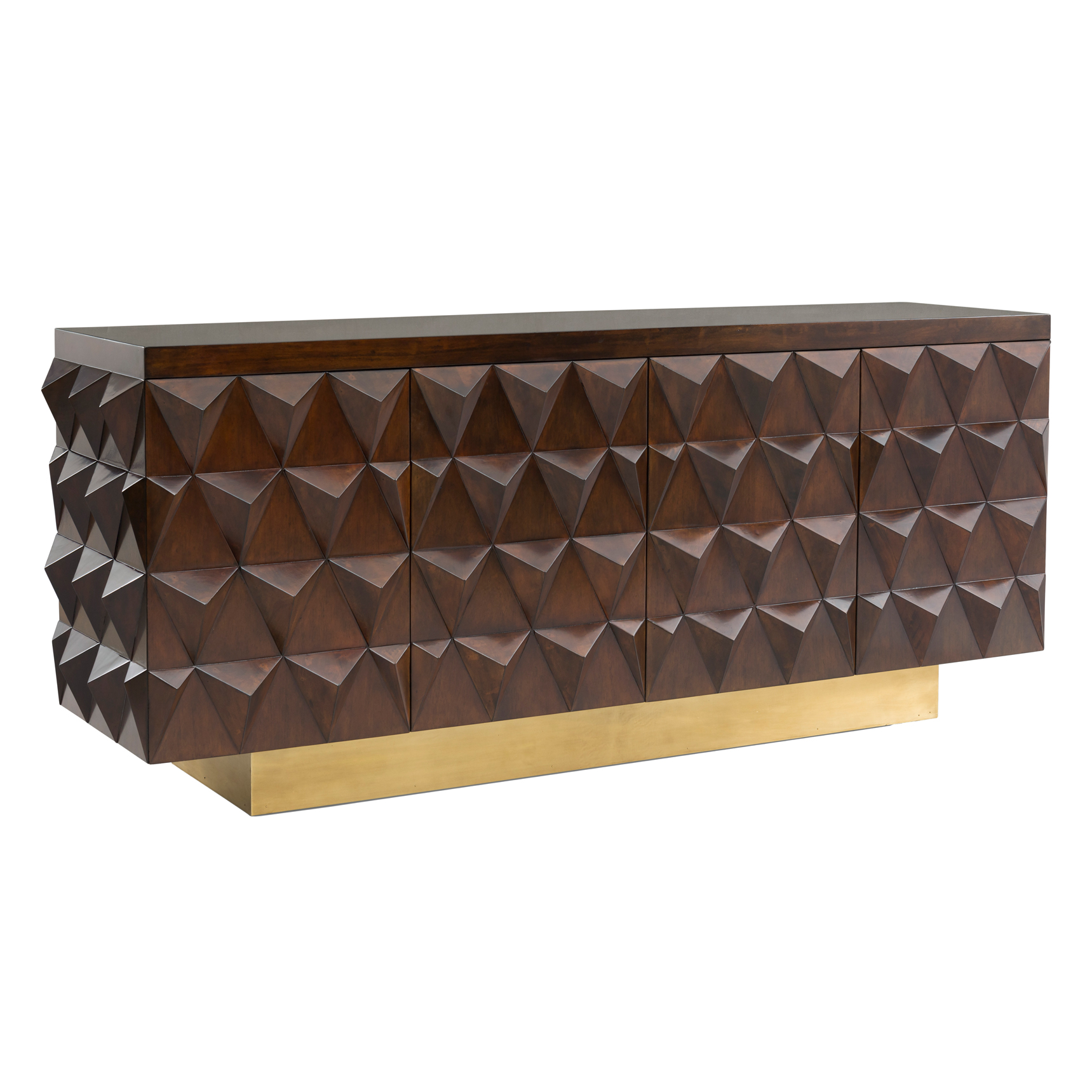 Ambrose Hollywood Brown Walnut Geometric Brass Sideboard Cabinet