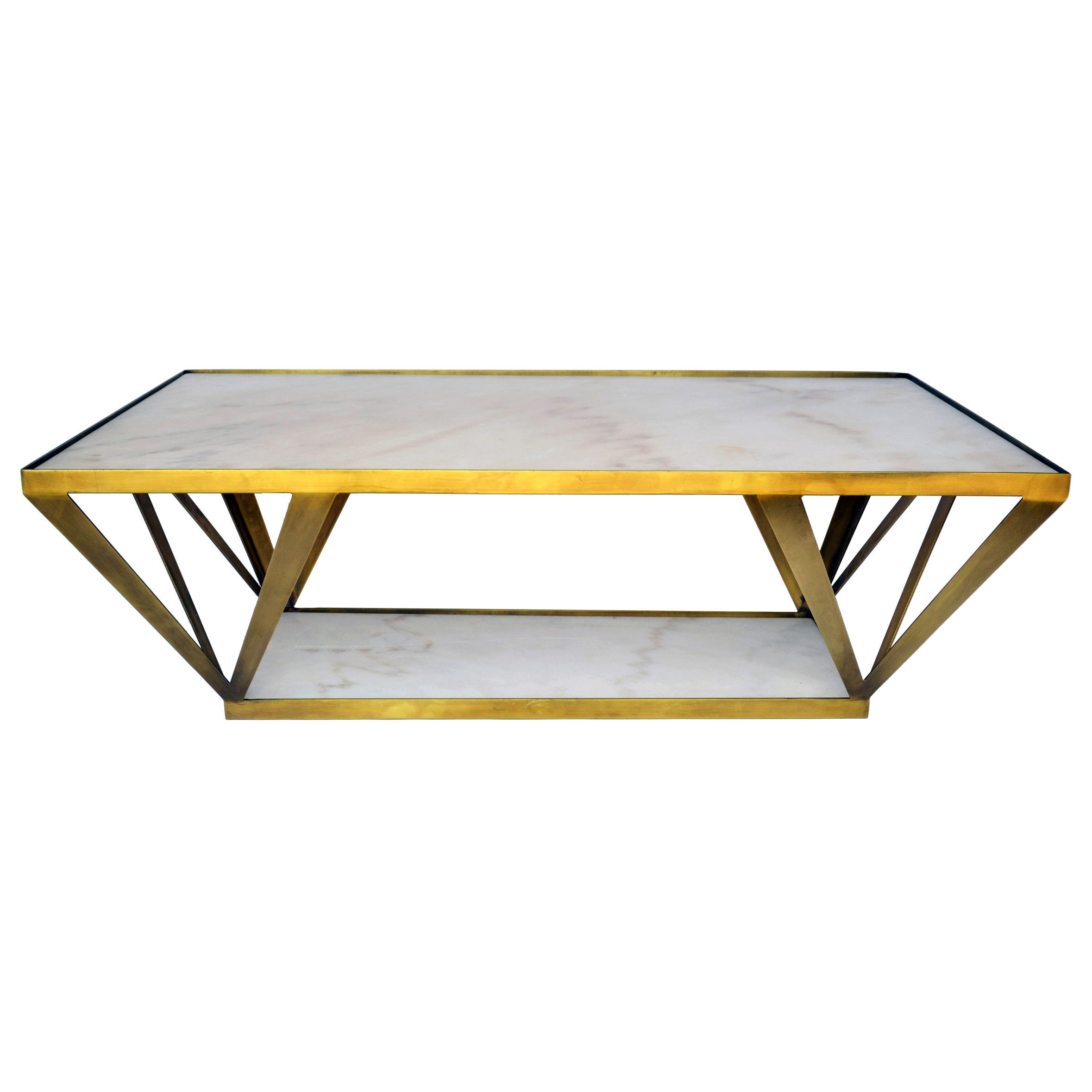 Aldrich Hollywood Regency Deco White Marble Brass Coffee Table