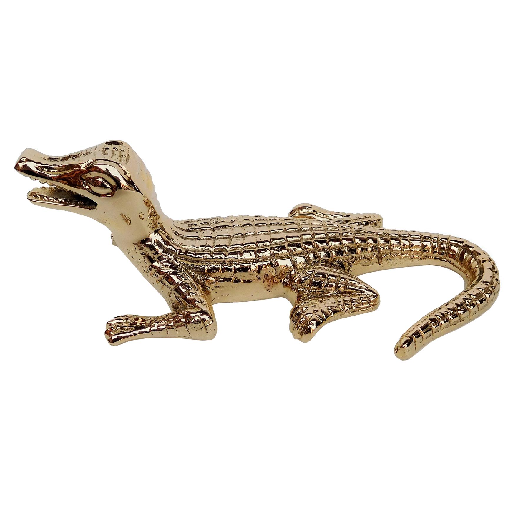 Hollywood Regency Plated Gold Baby Alligator Sculpture