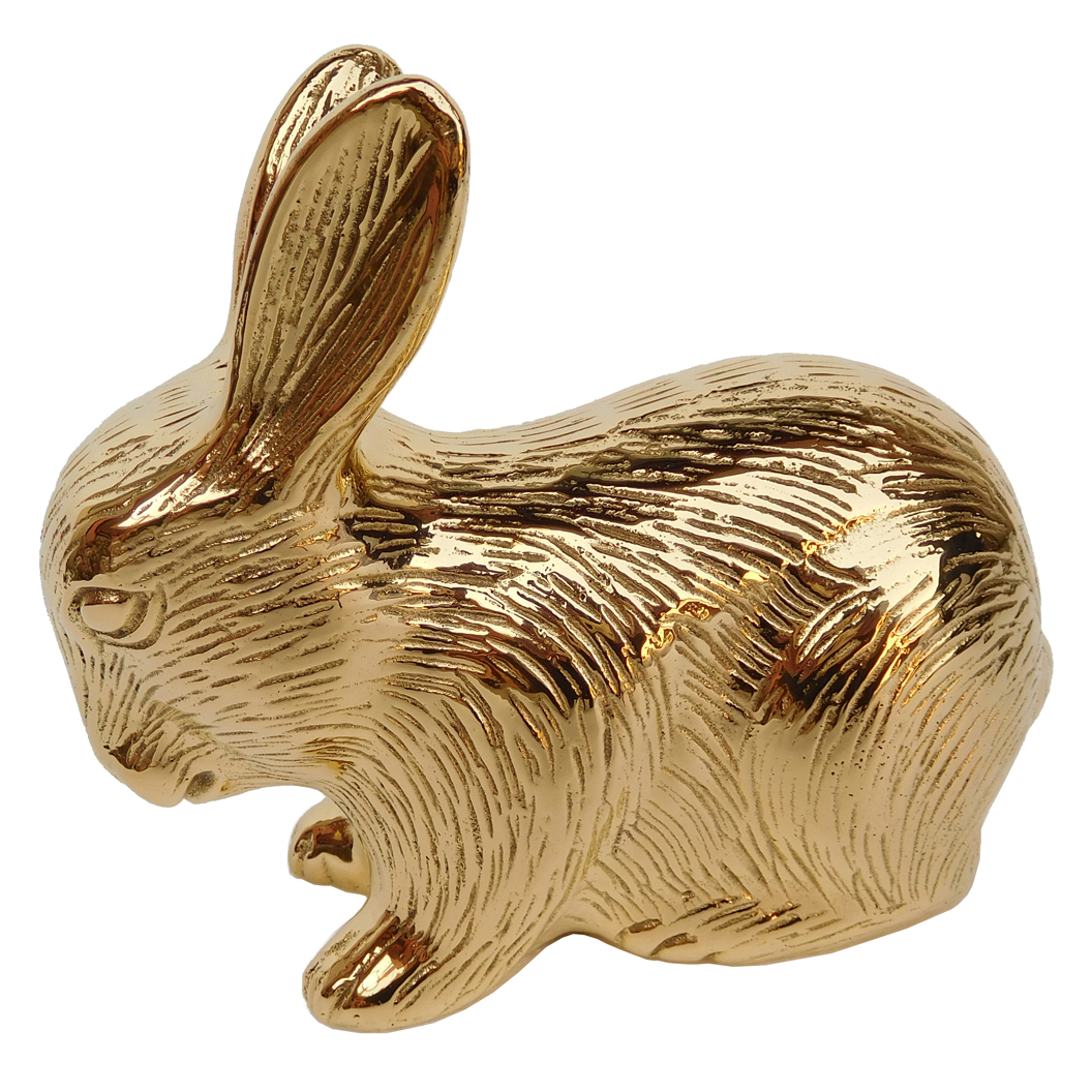 Hollywood Regency Plated Gold Baby Bunny Rabbit Sculpture