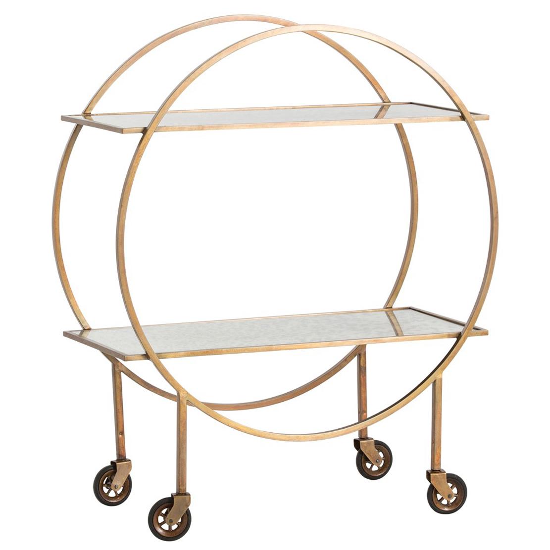 Paulie Modern Deco Antique Brass Circle Bar Cart