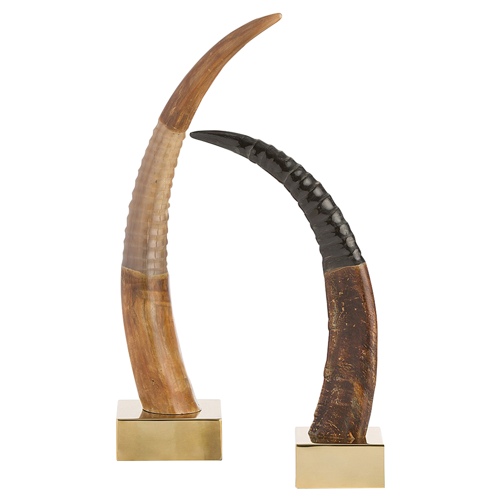 Orruns Global Bazaar Polished Brass Horn Sculpture - Set of 2