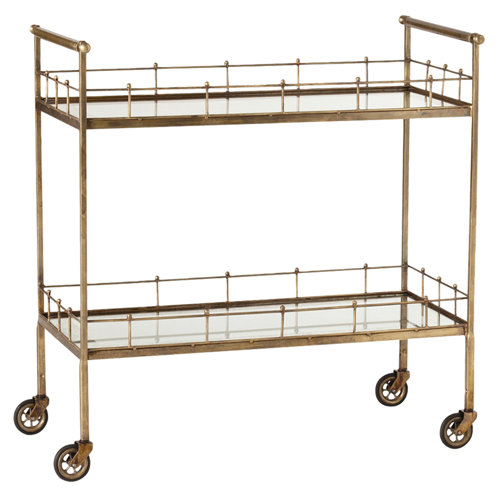Whitty Hollywood Regency Vintage Brass Antique Mirror Bar Cart