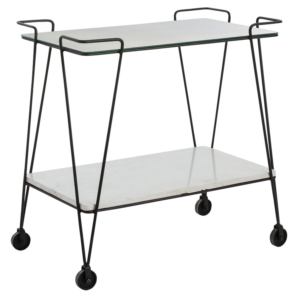 Ferronne Industrial Modern Iron Marble Mirrored Bar Cart