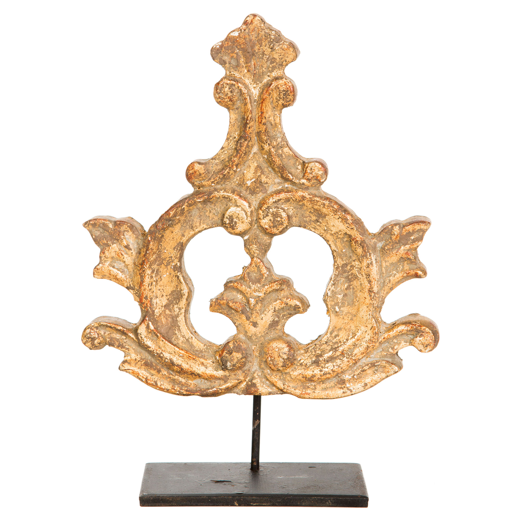 French Country Rustic Gold Wood Medallion Fragment