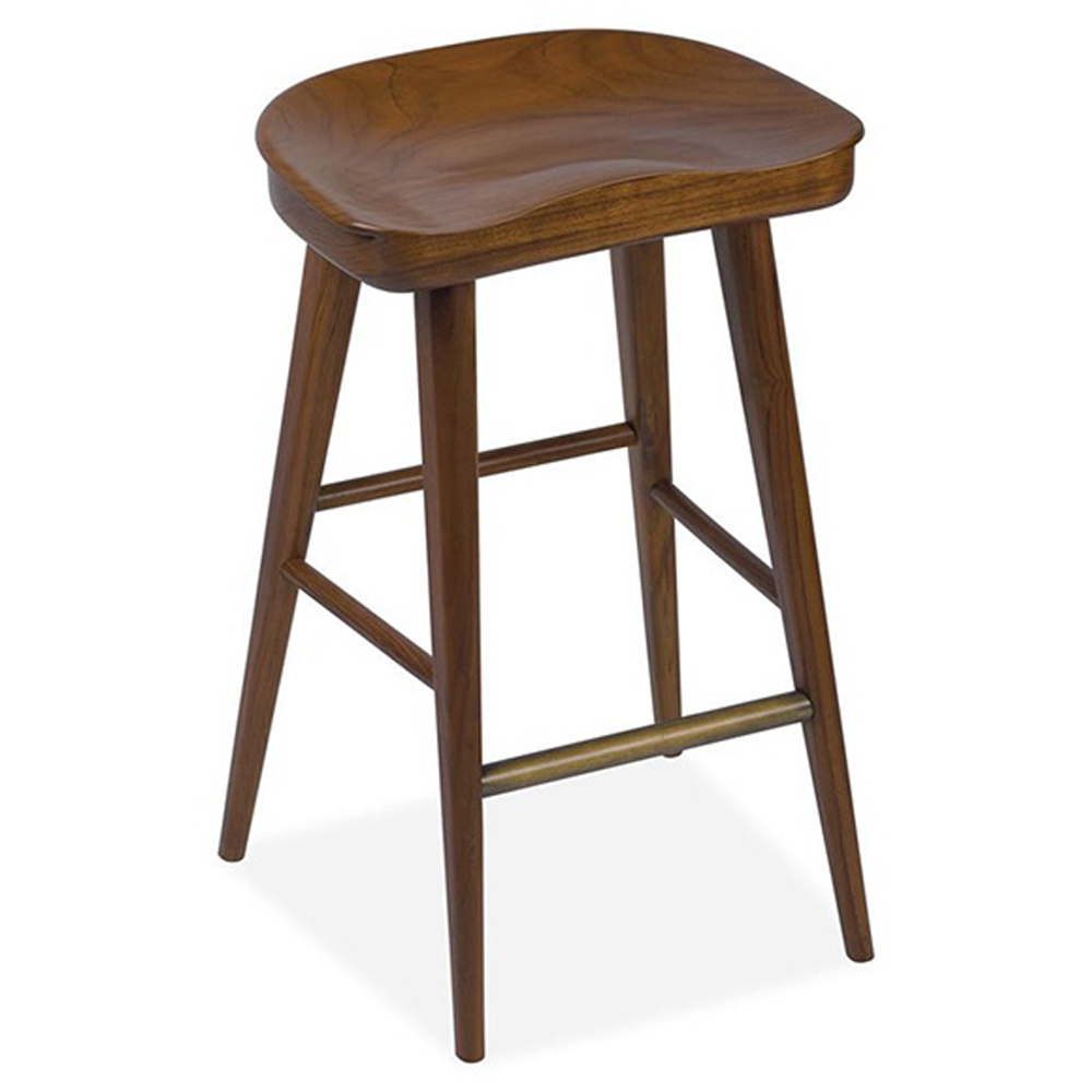 Betsy Modern Rustic Polished Hazelnut Teak Counter Stool