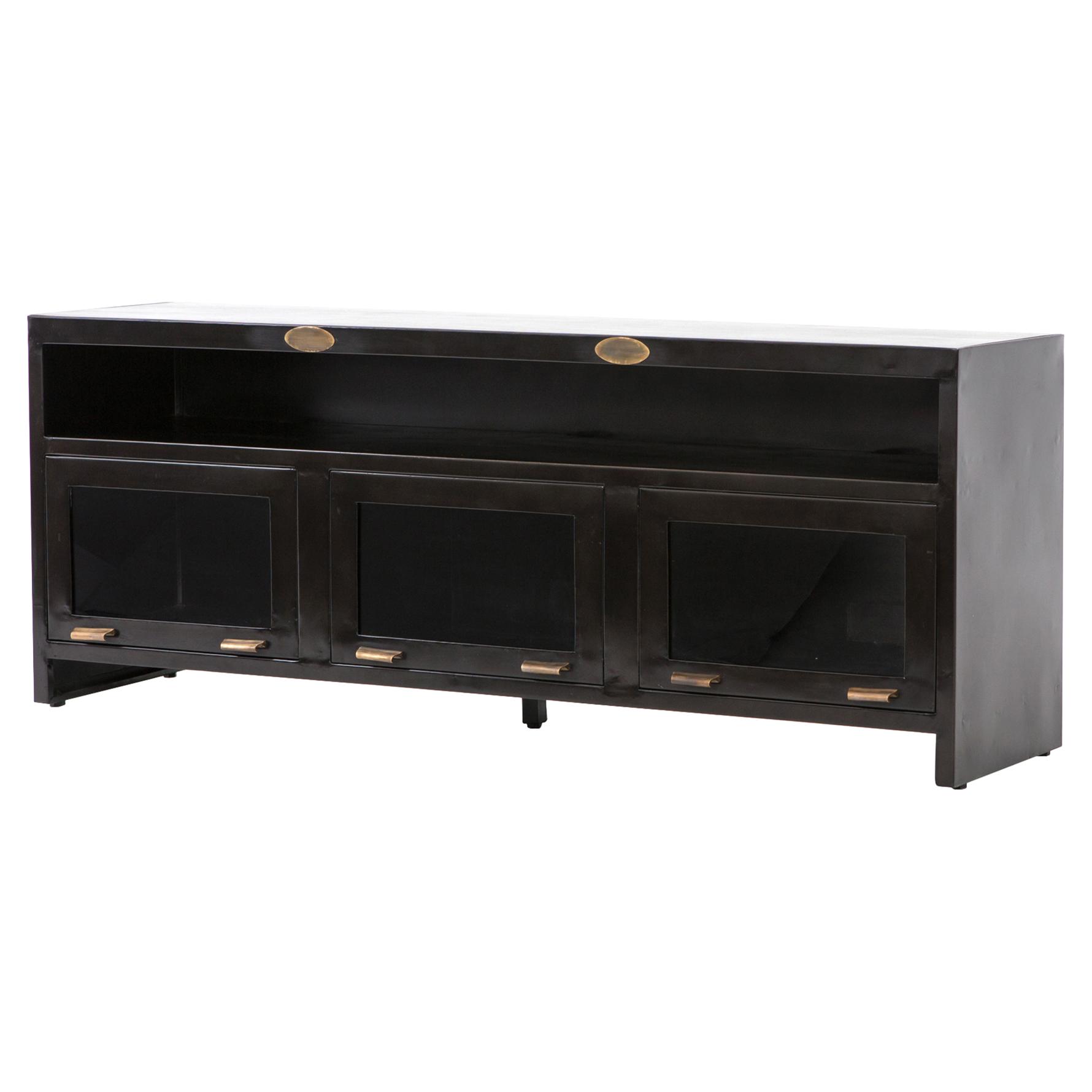 Fitz Industrial Loft Dark Brown 3 Cabinet Metal Media Cabinet