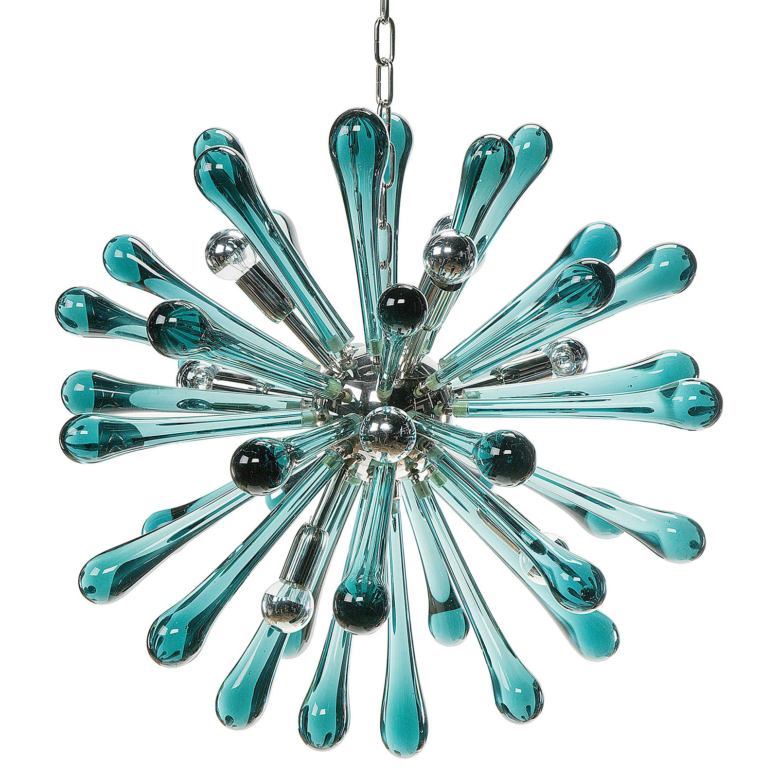 Messala Retro Modern Turquoise Glass Burst Chandelier
