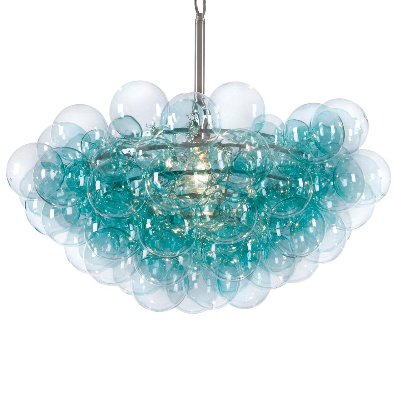 Sima Modern Floating Glass Bubbles Aqua Chandelier