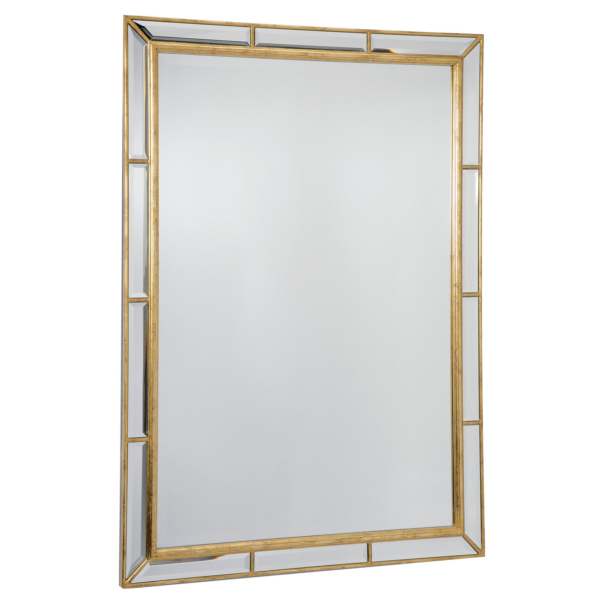 Taja Hollywood Antique Gold Beveled Rectangle Mirror