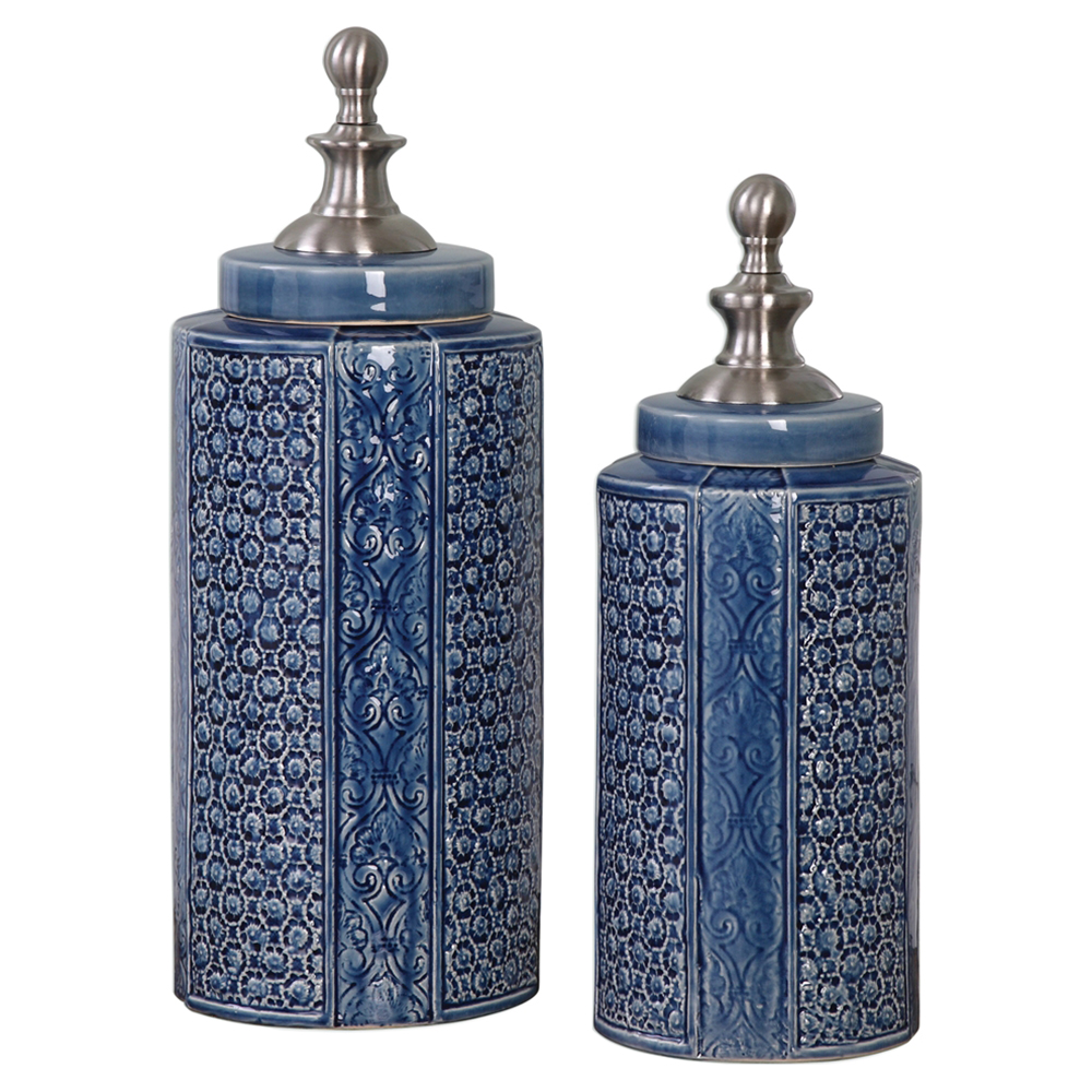 NeNe Bazaar Indigo Blue Ceramic Nickel Jar - Pair