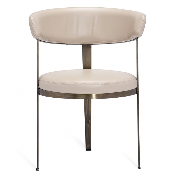 Interlude Adele Modern Rounded Cream Angle Bronze Dining Chairs   Pair