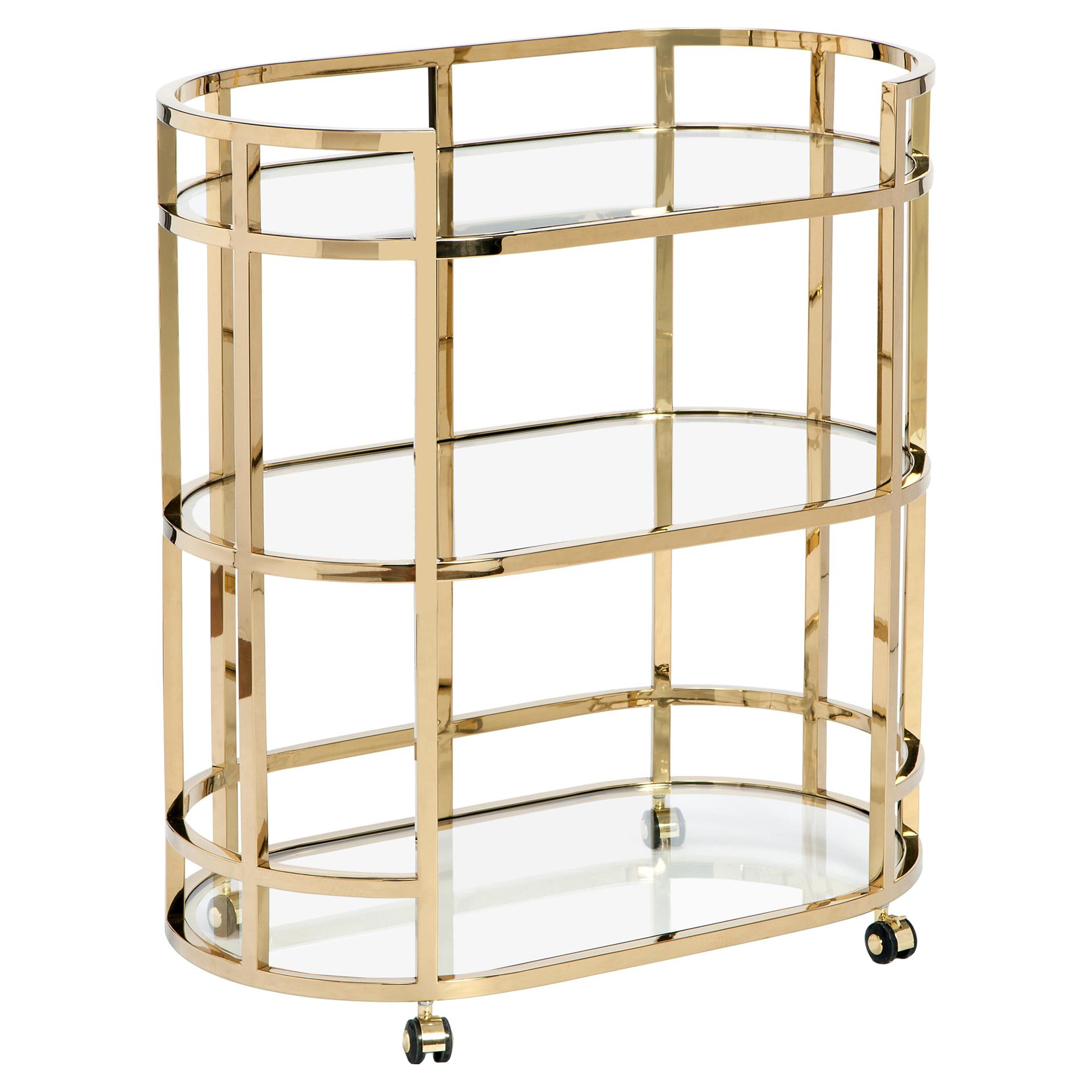 Halo Hollywood Regency Brass Oval Glass Bar Cart