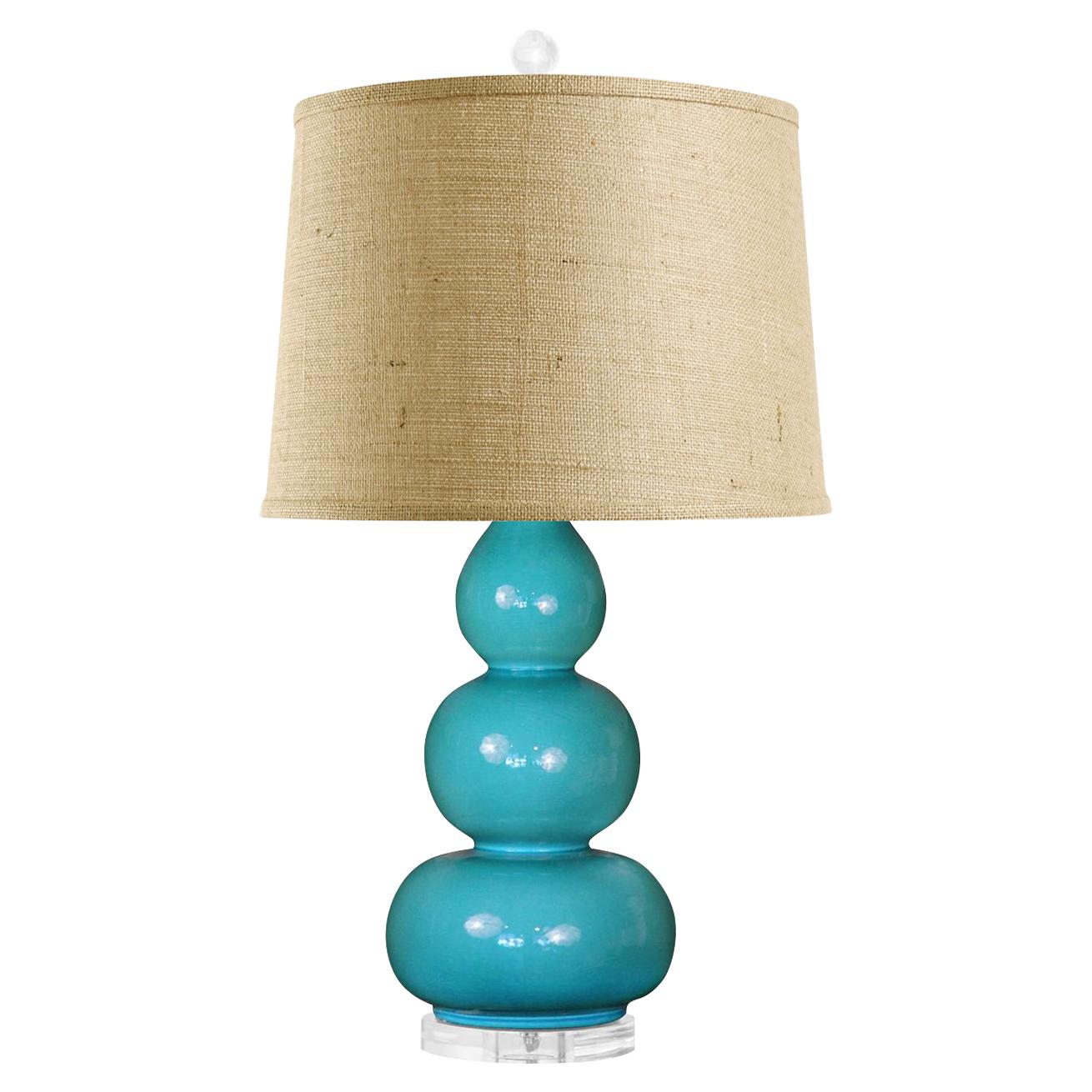 Baker Modern Turquoise Ceramic Triple Gourd Burlap Table Lamp