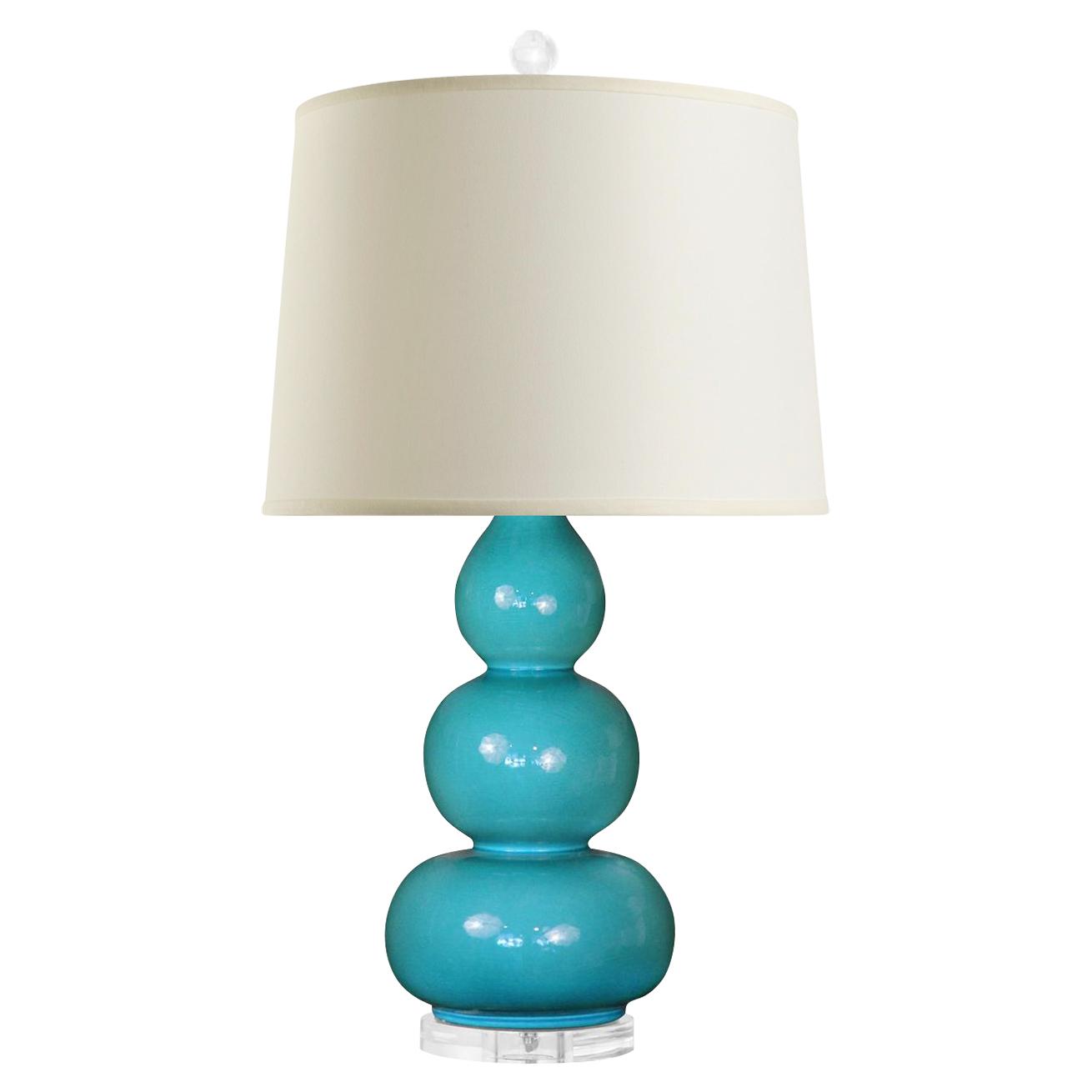 Baker Modern Turquoise Ceramic Triple Gourd Linen Table Lamp