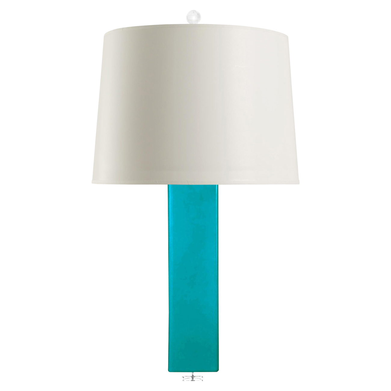 Pula Coastal Rectangle Column Turquoise Ceramic Paper Table Lamp