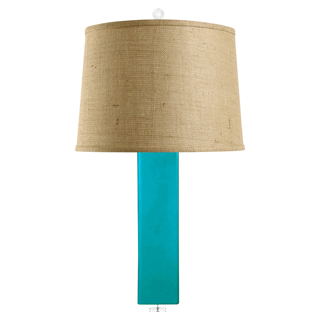 Pula Coastal Rectangle Column Turquoise Ceramic Burlap Table Lamp