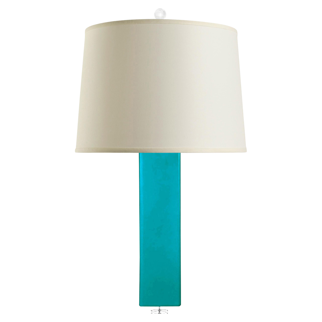 Pula Coastal Rectangle Column Turquoise Ceramic Linen Table Lamp